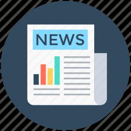 e-newspaper, journal, newspaper, newsprint, print media icon