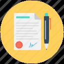 business letter, official document, official letter, pen, signature