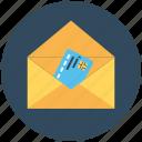 card in envelope, credit card, debit card, envelope, letter envelope