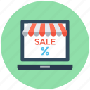 ecommerce, laptop, online shop, sale, sale offer icon