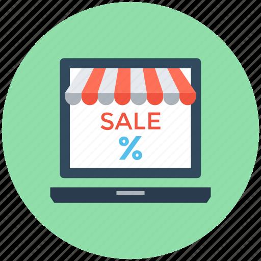 ecommerce, laptop, online shop, sale, sale offer icon