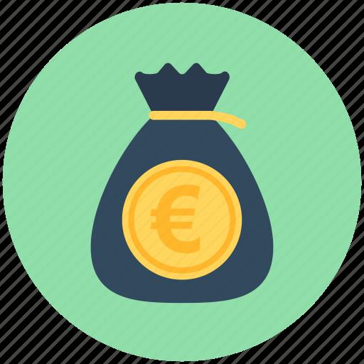 currency sack, euro sack, money bag, money sack, wealth icon