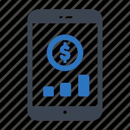 business, chart, finance, money, smartphone icon