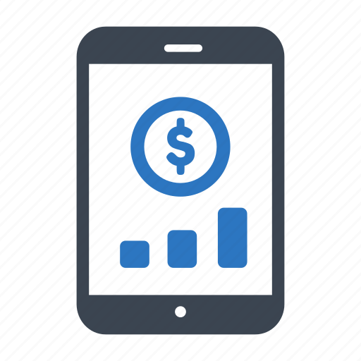 business, chart, finance, money, smartphone icon
