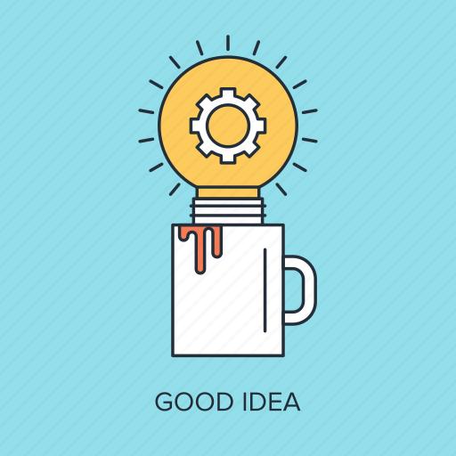 bulb, cup, energy, idea, imagination, light, power icon