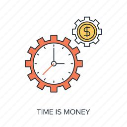 clock, cogwheel, gear, investment, management, money, time icon