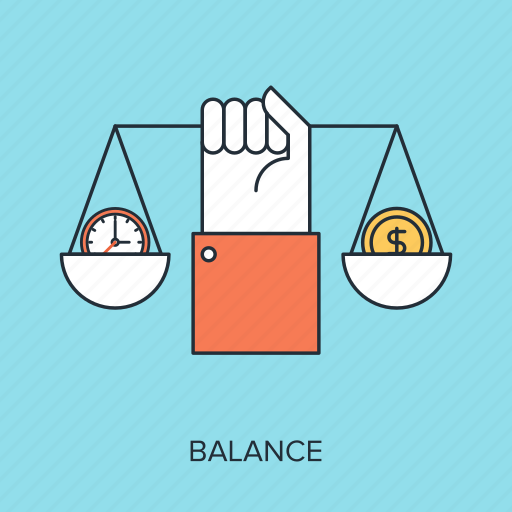 balance, business, finance, management, money, scales, time icon