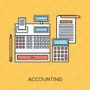 accounting, budget, calculate, calculator, cash, register, report icon