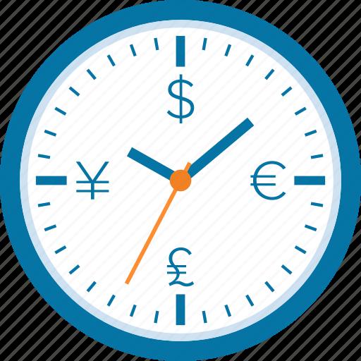 clock, finance, investment, management, money, profit, time icon