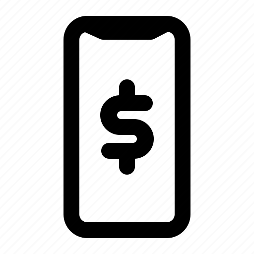 business, dollar, finance, outline, phone, smartphone icon