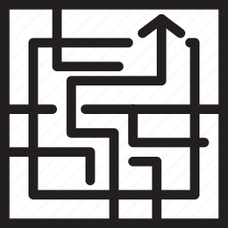 business, finance, maze icon