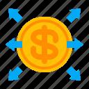 business, finance, investing, money, money transfer, spending, transferring icon