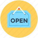 hanging sign, information sign, open shop, open signboard, shop sign icon