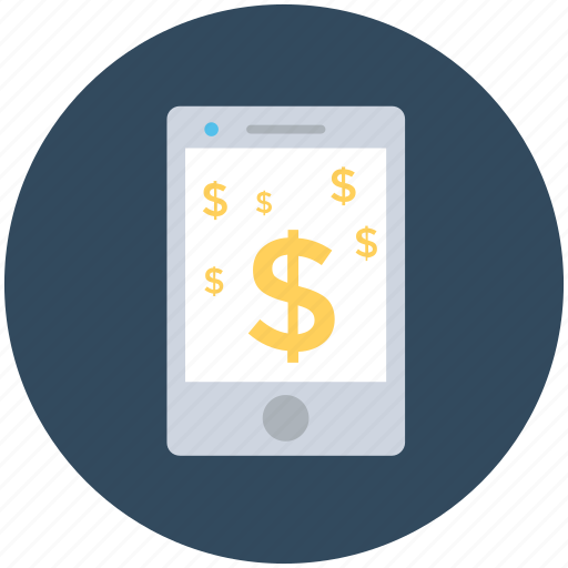dollars, mobile, online business, online money, online work icon