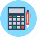 accounting, calculator, figuring, mathematics, pen icon