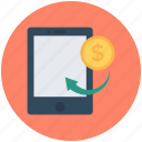 dollar, m commerce, mobile commerce, online business, online work icon