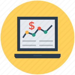 accounts report, business report, business status, laptop, stock report icon