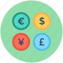 currency, dollar, euro, pound, yen icon