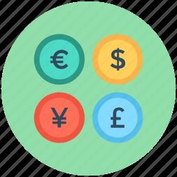 currency, dollar, euro, pound, yen icon