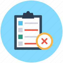 checklist, clipboard, crossmark, rejected list, wrong list icon