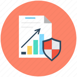 business report, graph report, secure document, shield, statistics icon