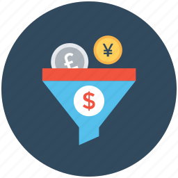 dollar, funnel, money filter, pound, yen icon