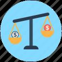 balance scale, business, dollar, trade, transaction icon