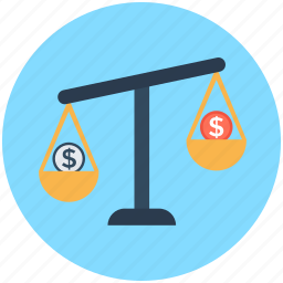 balance scale, business, dollar, trade, transaction icon