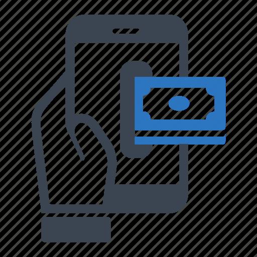 business, deposit, finance, insert, money, smartphone icon