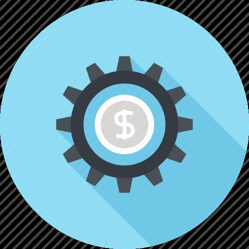cogwheel, finance, gear, investment, management, money, profit icon