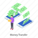 cash transfer, fund transfer, money transfer, currency transfer, online banking icon