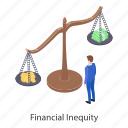 financial imbalance, financial inequality, financial injustice, financial judgement, inequity icon