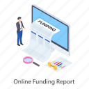 business analysis, business report, digital audit, funding report, online report icon