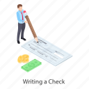bank cheque, cheque, chequebook, payment, write cheque icon
