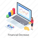 data analytics, financial analytics, financial decrease, financial infographic, financial statistics icon