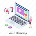 digital marketing, internet marketing, video advertising, video marketing, video publicity icon