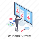 e recruitment, online employment, online hiring, online job, online recruitment, online reinforcement icon