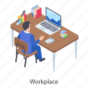 office desk, work area, work station, working desk, workplace icon