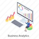 business analytics, business infographic, business statistics, data analytics, data graph, growth chart icon