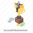 business achievement, business reward, successful businessman, successful entrepreneur, winning businessman icon