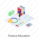 financial education, financial knowledge, financial literacy, financial study, financial teaching icon
