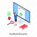 approved cv, approved resume, selected candidate, verified cv, verified resume icon