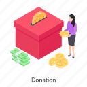 charity, donation, endowment, funds, money donation, money grant icon