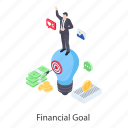 financial aim, financial goal, financial objective, financial purpose, financial target icon