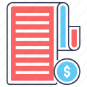 billing, invoice paper, itemized bill, payment document, receipt icon
