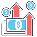 earnings, economic growth, financial growth, income growth, profit growth icon