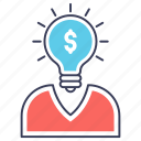 big idea, brainstorming, creative idea, financial idea, innovation icon