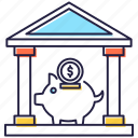 bank building, bank services, dollar institute, financial institute, financial services, financial support icon