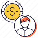 employee compensation, employee cost, employment, labor cost, staff cost icon