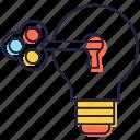 bulb idea, creative idea, key idea, problem solving, smart idea icon